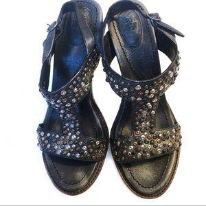 Frye Joy Vintage Sling Studded Heels - Black